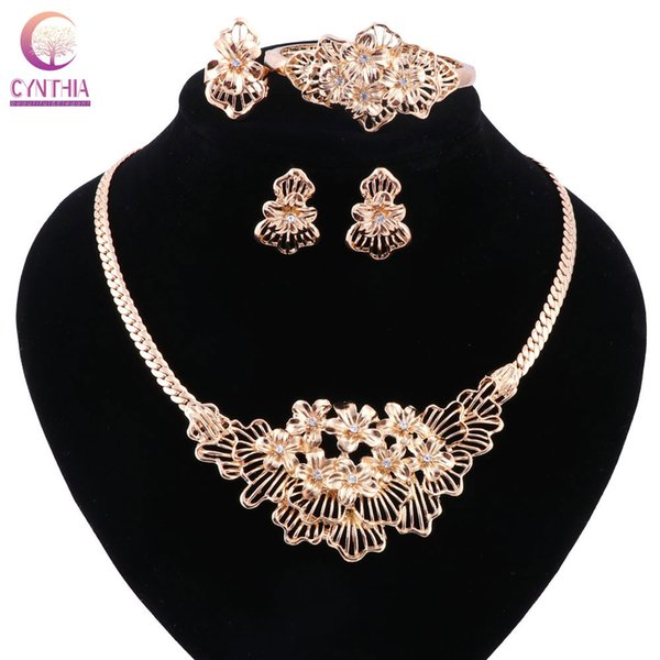 Gold plated silvery Statement necklace with earrings bracelet Jewelry sets Trendy Boho crystal women necklace for party wedding
