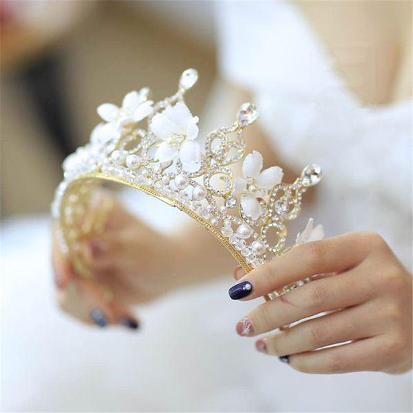 Wedding Hair Flower Crown Ivory Bridal Gold Crystal Headband Headpiece Hair  Accessories Tiara Jewelry Rhinestone Headdress