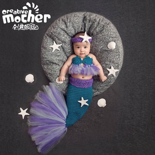 2017 neue Muster Kinder Fotografie Kleidung Meerjungfrau Set Neugeborenen Foto Requisiten Handgemachte Häkelarbeit Baby Fotografie Requisiten