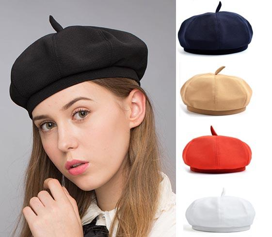 Stand Focus Beret French Beanie Painter Hat Cap Women Female Artish Fashion Unique Twill Fabric Newsboy Tam Multicolor Red White Black Navy