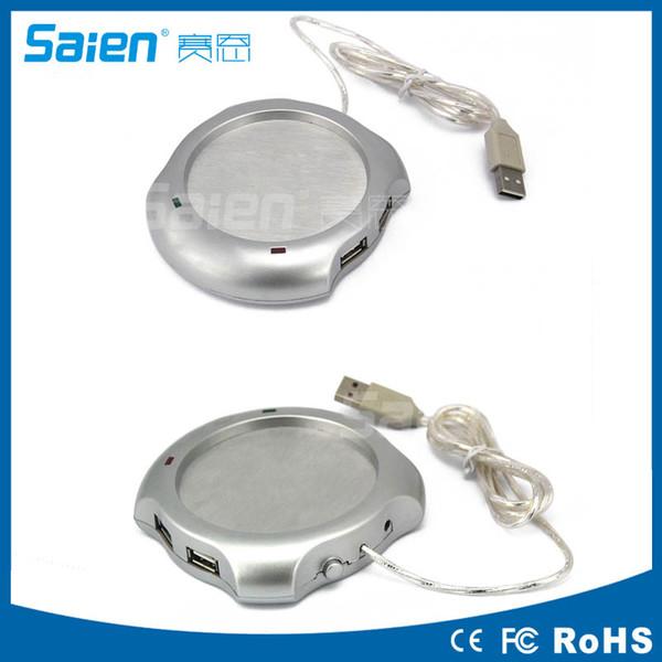 1pc 4 Port USB Tea Coffee Cup Mug Warmer Heater Pad Powered From Hub PC Newest Drop Shipping Wholesale Free DHL Fedex