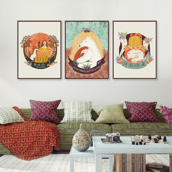 Triptych Girl Bear Rabbit Animal Love Fairy Tale A4 Big Art Print Poster Wall Picture Kawaii Canvas Painting No Frame Home Decor