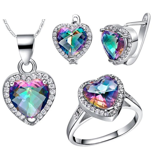 4PCS/SET Women Heart Shape Genuine Rainbow Fire Mystic Topaz Ring Pendant Earring Wedding Engagement Set 925 Solid Sterling Silver