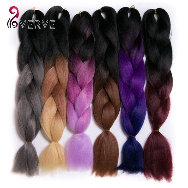 best selling VERVES 24 inch 100g piece Synthetic High Temperature Fiber ombre braiding hair Extension yaki style synthetic hair