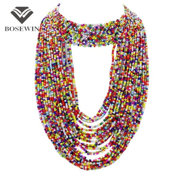Bohemia Handmade Beaded Statement Necklaces For Women fashion Big Jewelry Wide Choker Long Tassel Collar Necklaces & Pendant CE3787