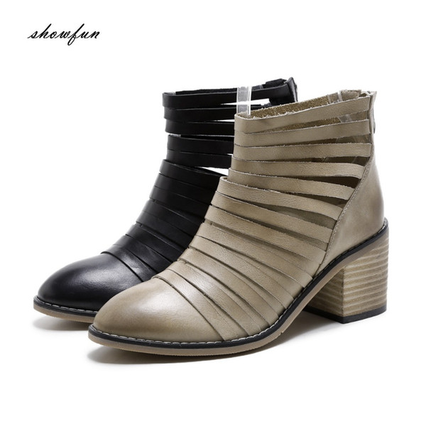 Women's Comfy Buckle Back Zipper Ankle Boots With Heels
