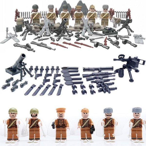 6PCS WW2 Soviet Russian National Army The Battle Moscow Anti Fascist Minifigures Building Blocks Compatible Legoes Military D164