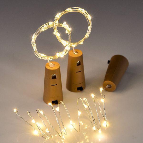 2m 20-LED luz de la secuencia del alambre de cobre con el tapón de la botella para el arte de cristal botella Fairy Valentines Wedding Decoration Lamp Party