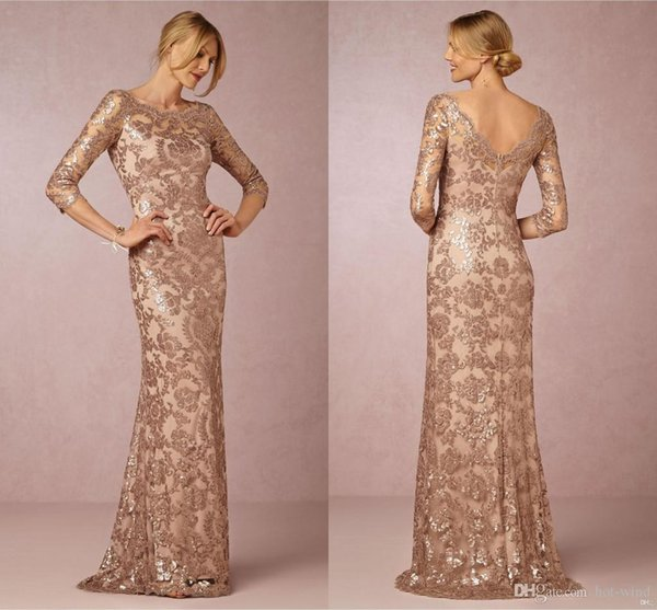 best selling Long Sleeves Rose Gold Mother of the Bride Groom Dresses Bateau Neck Plus Size Vintage Lace Long Formal Evening Party Wear BA0528