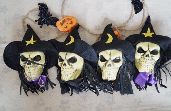 Halloween Party Skull Garland ghost bat witch pumpkin string banner flag club bar decoration store atmosphere SKULL HEAD pendant flag props