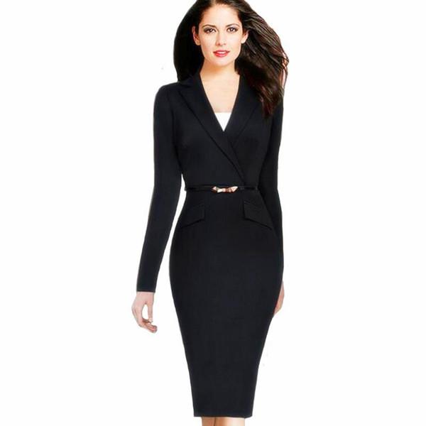 37db4033e31e3 Sonbahar Kadın Elbise Suit 2017 Bayanlar Akşam Sashes Elbise Slim Düğme Cep Iş  Iş Elbisesi Siyah