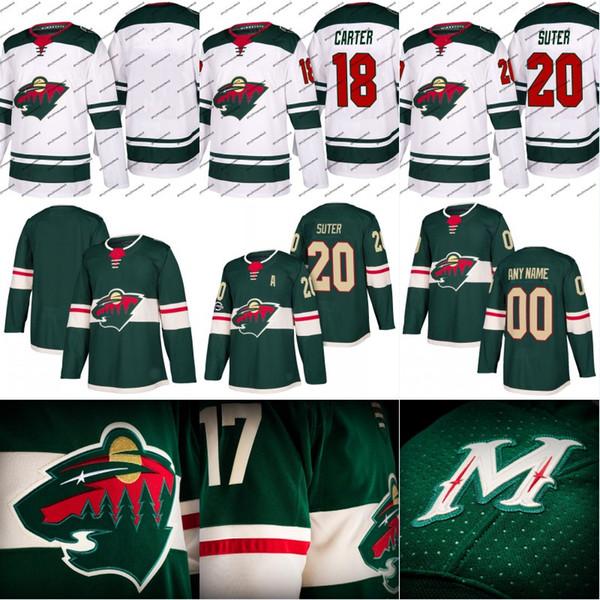Minnesota Wild Jersey 18 Ryan Carter 19 Luke Kunin 20 Ryan Suter 21 Ryan Malone Custom Hockey Jerseys White Green Free Shipping