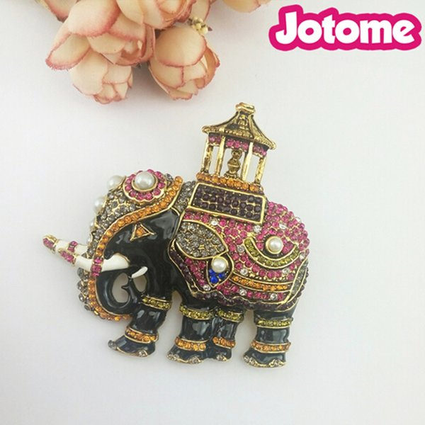 Large Multi Color Vintage rhinestone elephant brooch In Zinc Alloy Gold Plating Thailand Elephant brooch jewelry