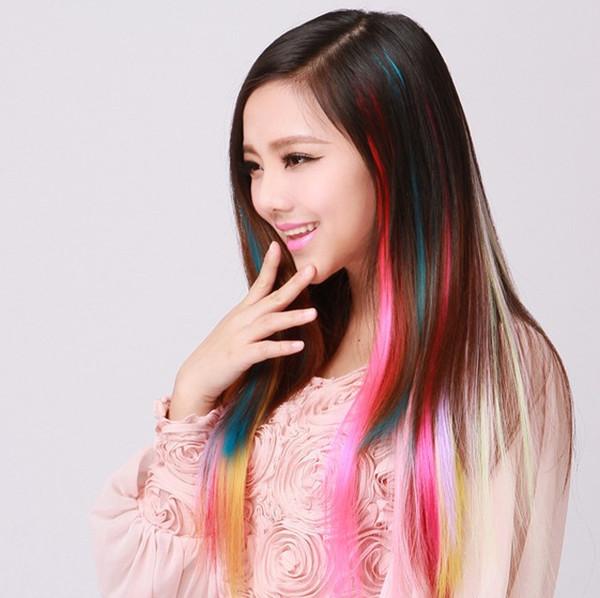 10 pcs / lot cheveux synthétiques Clip droit en extension rose rouge jaune rose bule sur cosplay ombre cheveux synthétiques