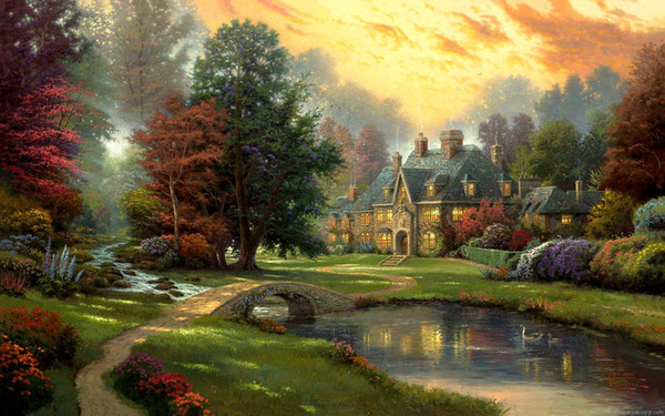 Thomas Kinkade Landscape Oil Painting Reproduction High Quality Print on Canvas Forest Manor Modern wall Art Living Room Home Decor tms20