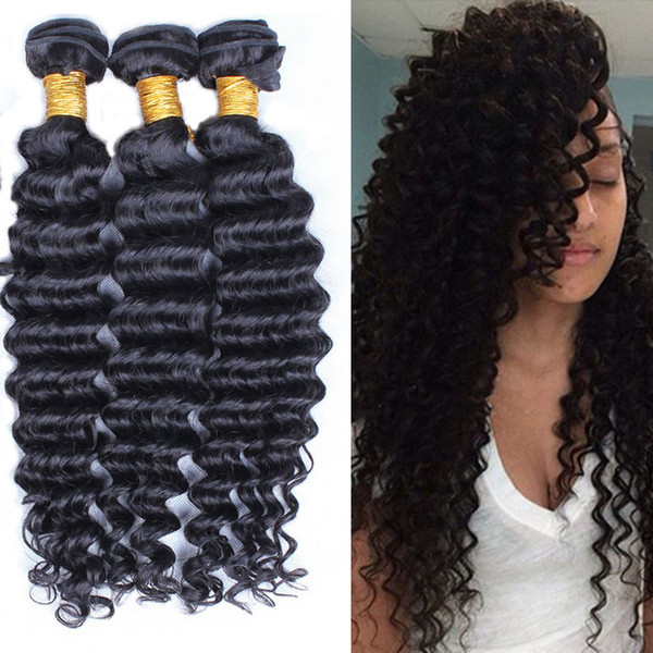 6A Brazilian Deep Wave Hair Weave Human Hair Products 3/4pcs Indian Peruvian Malaysian Virgin Hair Curly,100% Unprocessed Hair Extensions