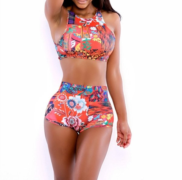 ee4be042cafd3 Sexy girl high waist swimsuit push up bikini women bathing suit Floral  Print bikini 2016 swimwear