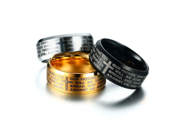 8mm Stainless Steel Silver Gold Black Colors Cross Ring Men Unique Prayer Bible Religious Jewelry US Size 7-13