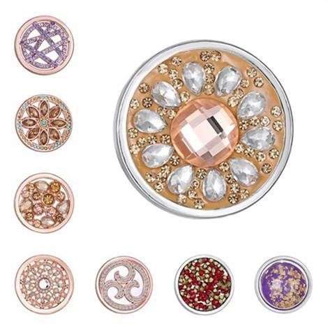 33mm Mi moneda necklaces Rose Gold Plated Coin with Full Crystals for 35mm Pendant DIY round big 33mm coin Photo frame Floating lockets