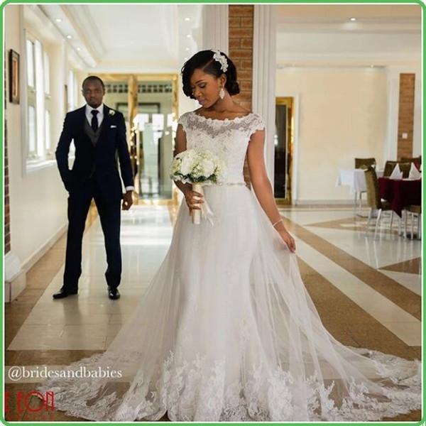 Black Girls 2019 New Mermaid Wedding Dresses Sheer Jewel Neck Lace Waist With Crystal Belt Long Bohemain Garden Bridal Gown Custom Made