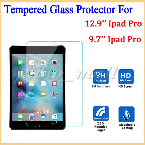 High Quality 0.33mm Full Screen Protector Tempered Glass For 9.7'' 12.9'' Ipad Pro Tablet Hardness Film 50pcs Free DHL