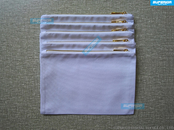 50pcs/lot 12oz White Pure Cotton Canvas Makeup Bag With Matching Color Lining Metallic Gold Zip Bag Blank Cotton Pouch For DIY Print & Paint
