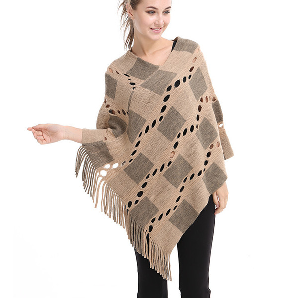 Sexy Womens Irregular Tassel Poncho Off Shoulder Cape Shawls Wrap V-neck Hallow Lattice Batwing Knitted Sweater