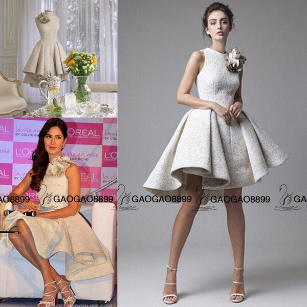 Katrina Kaif in Krikor Jabotian Real Photo High Low Short Prom Party Dresses with Flower Cute A-line Lace Applique Homecoming Evening Gowns