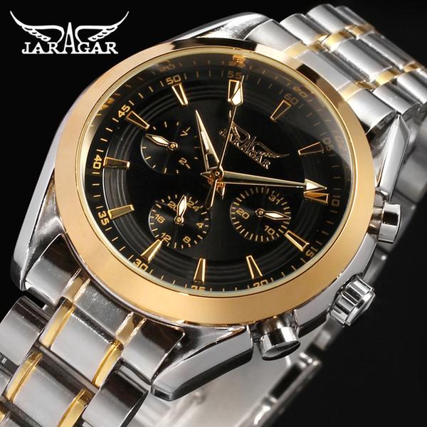 JRAGAR Marca de moda de los hombres Negro Dial Golden Case Elegante 6 Manos Multifunción Relojes Mecánicos Automáticos Relojes de Acero Completos Al Por Mayor