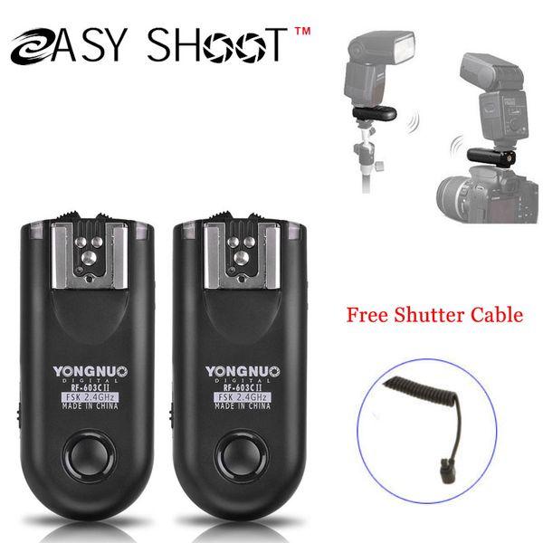 Wholesale-Yongnuo RF-603 II C3, Wireless Flash Trigger 2 Transceivers for  1D 1DS EOS 5D Mark II III 5D 6D 7D 50D 40D 30D 5D2 5D3