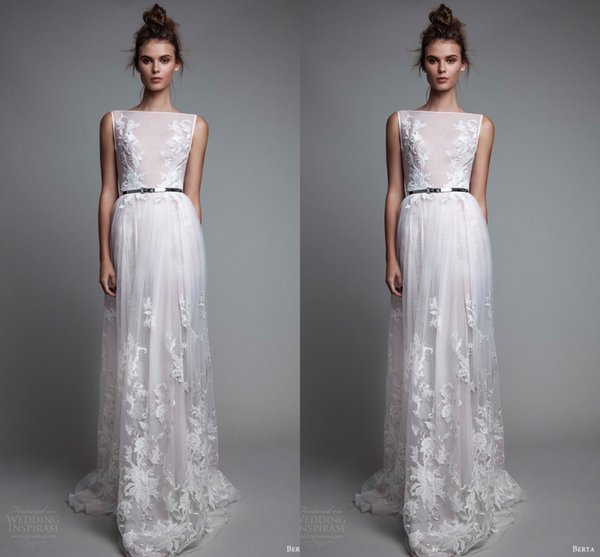 Weiß Einfache Design Abendkleider 2017 Bateau Ausschnitt Sleeveless Spitze Applique Eine Linie Brautkleider Bodenlangen Formelle Tragen