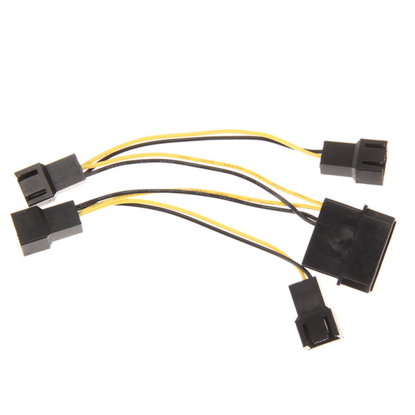 Wholesale- Best Price 1 pc/5 pcs 4P to 4x3P Computer Case Fan Cooler Power Connector Adapter Extensoin Cable High Quality