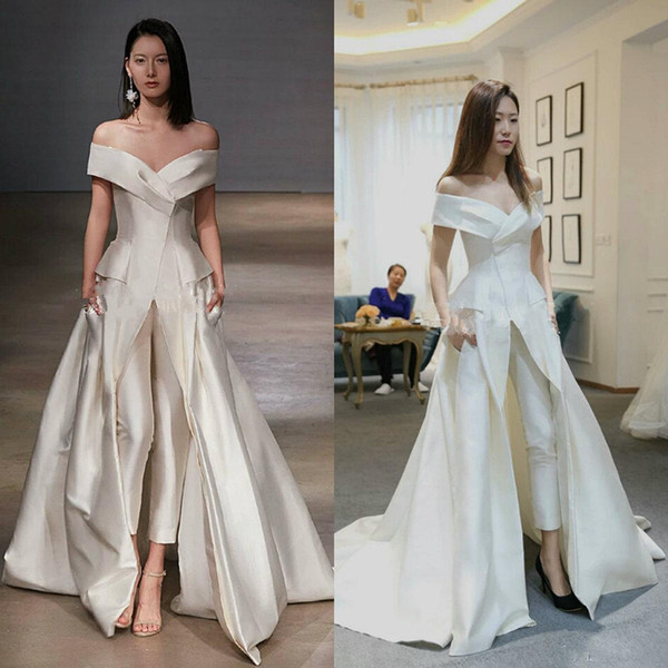 Femmes Combinaison Pour Le Soir Blanc De L'épaule Robes De Soirée De Balayage Train Élégant Zuhair Murad Femmes Combinaison Vestidos Festa