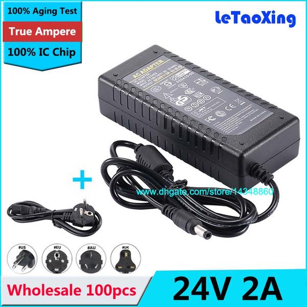 100 pcs 24 V 2A AC 100-240 V para DC 48 W Adaptador Para 3528 5050 Tira CONDUZIDA EUA UE AU Plug Adapter com IC Chip