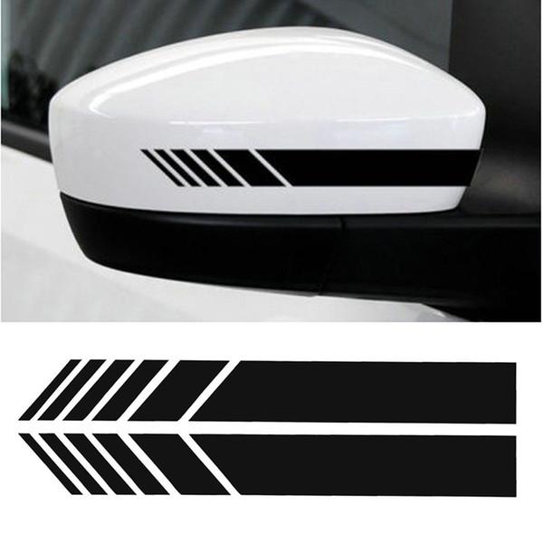 Emblema de la etiqueta de la raya del vinilo de la etiqueta engomada del espejo retrovisor del coche 2pcs