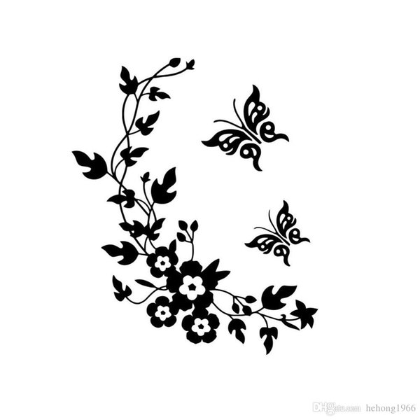 Wall Sticker Butterfly Flower Vine Decal Water Proof Multi Function Bathroom Toilet Door Paste Home Decor 3 2gf F R