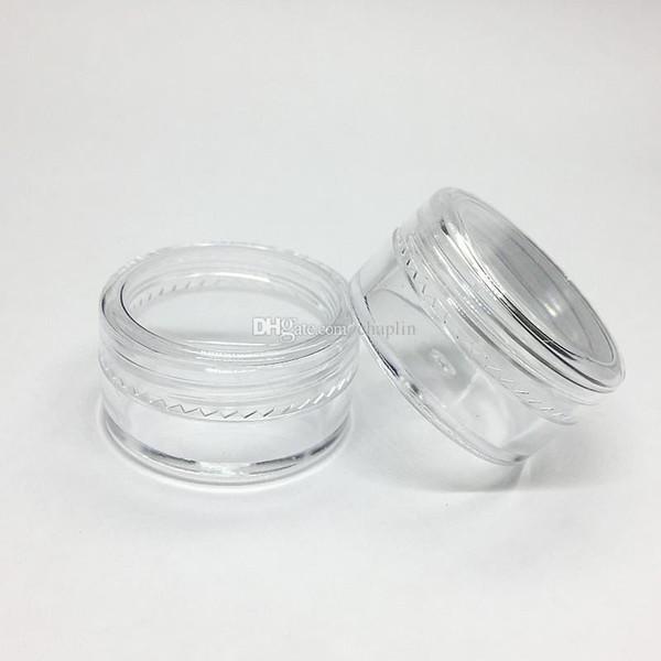 5gram Tarro plástico cosmético Base clara Crema vacía Pote de la muestra Tarro 5 ML Mini botella de plástico Nail Art Glitter Contenedor de polvo Caso