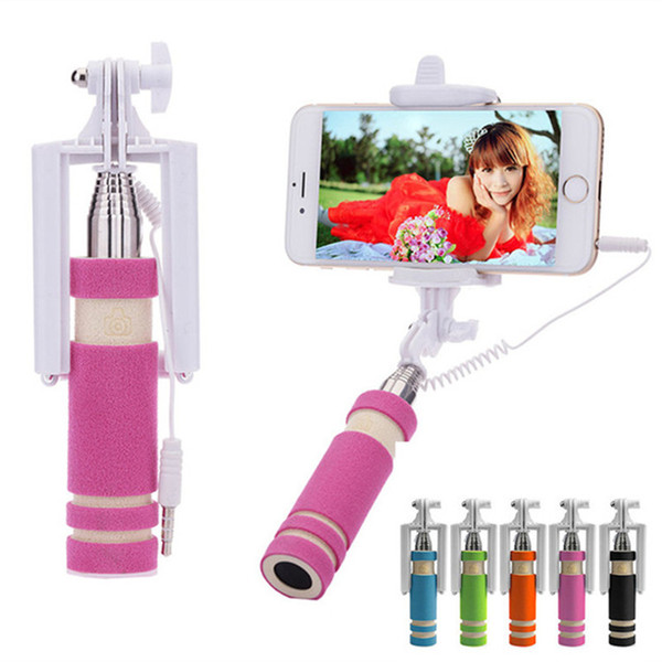 Mini Wired Selfie Stick Handheld Extendable Monopod Fordable For Iphone 6S Samsung Galaxy S7 Edge With Retail Package