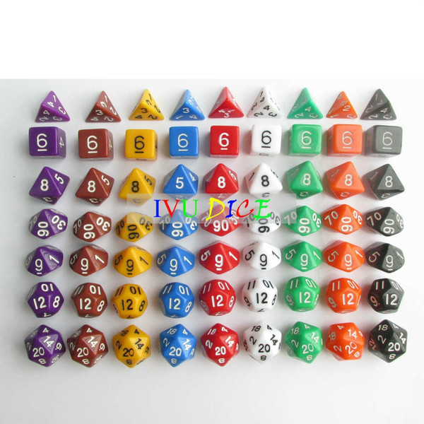 63pcs DND Table BOARD GAME Dungeons&Dragons number dice 9 Colors Purple Black Blue White Green Red Yellow Child Party dices IVU