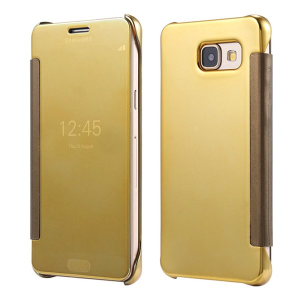 For Samsung S8 Plating Mirror Leather Case Clear Window View Chrome Flip Electroplate Phone Case Cover for Galaxy S7 S6 edge