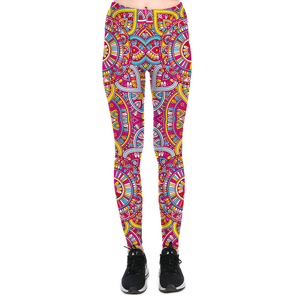 Colorful carriage wheel pants Round scrawl tight Women soft gym clothing Leggings sport wear Fitness training sportwear Exercise trousers