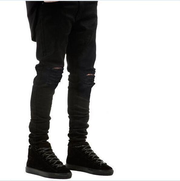 mens Strech rasgado biker kanye west jeans flaco azul claro Distorsionado kanye west marca de diseño hip hop streetwear swag pantalones