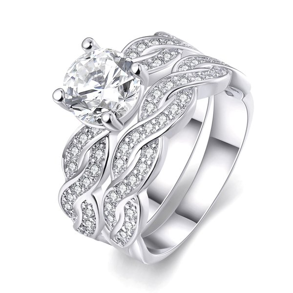 Infinity Wedding Band Anniversary Engagement Ring Bridal Set 18KGP Gold/White Gold Cubic Zirconia US Size 5-9
