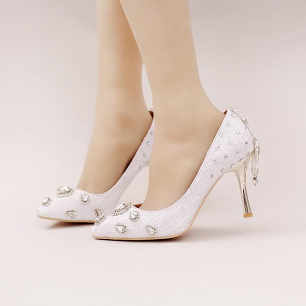 Mode New Style en dentelle blanche chaussures de mariée strass Parti de mariage haut talon Chaussures bout pointu Chaussures habillées formelle Femmes Pompes