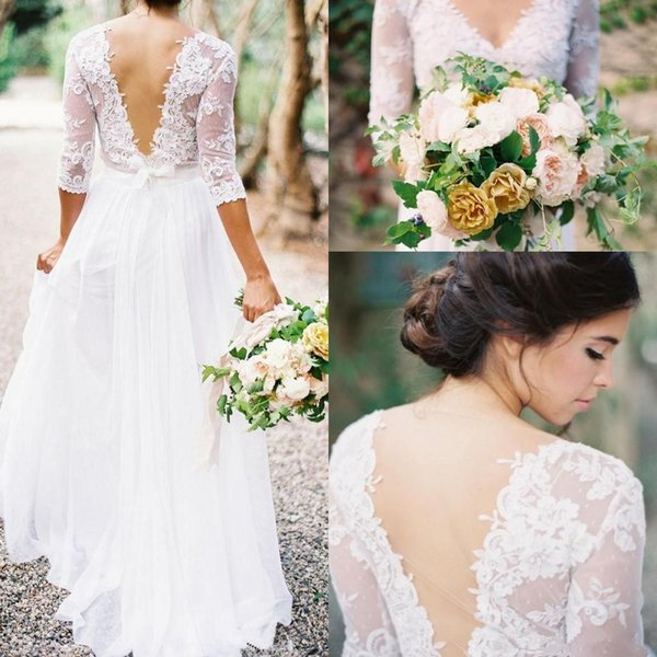 2017 Bohemian Wedding Dresses Lace 3/4 Long Sleeves V-neck Low Back A-line Chiffon Plus Size Summer Beach Country Bridal Wedding Gown