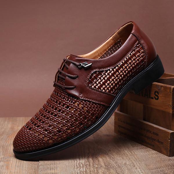 0addedb2 2015 zapatos de vestir del novio zapatos de los hombres frescos Ahuecar  sandalias de cuero respirables