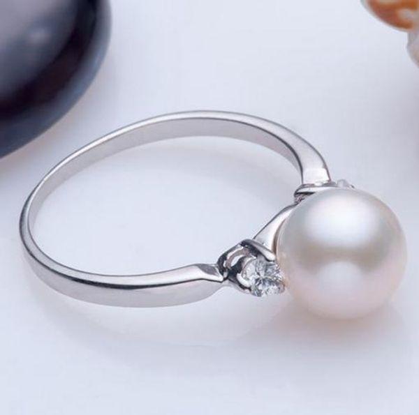 Wholesale 8-9mm perfect circle natural pearl rings inlay rhinestone on both sides