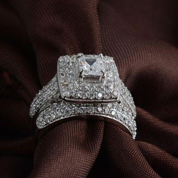 Al por mayor-libre de envío real fina princesa corte 14kt oro blanco lleno lleno topacio Gema simulado diamante mujeres anillo de compromiso de boda