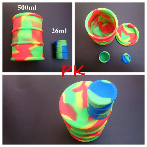 Big 500ml barattolo di silicone barile contenitore vasi dab cera vaporizzatore olio di gomma tamburo forma contenitore di grandi dimensioni per uso alimentare erba secca a base di erbe DHL