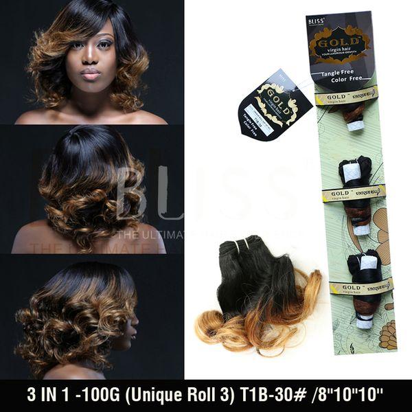 Atacado-7A cabelo funmi não processado feixes de tecer cabelo brasileiro3 EM 1 (Rolo Único) 8''10''10